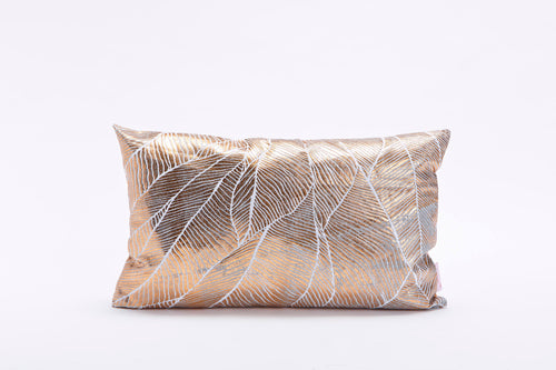 Copper Rectangle Pillow Cover with Matt Finish, Leaves Print, Bling Pinion Limited Edition, Foil Print On Fabric Linen Silver