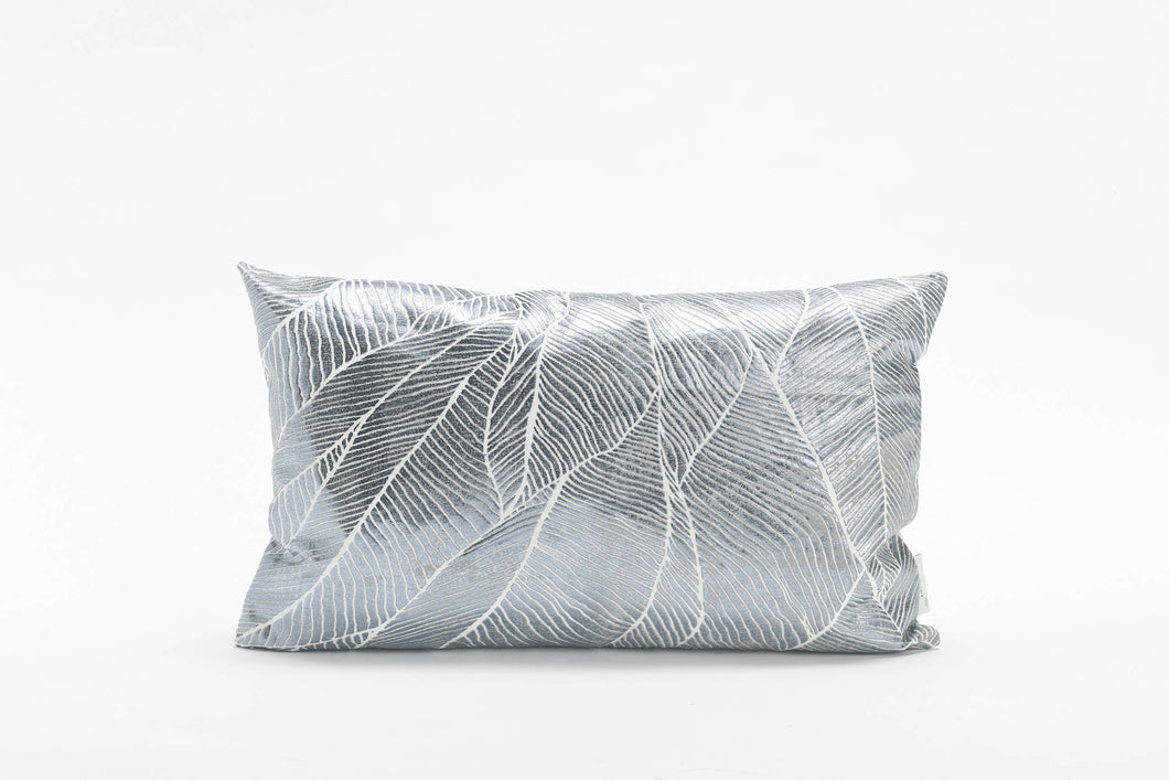 Silver Rectangle Pillow Cover with Matt Finish, Leaves Print, Bling Pinion Limited Edition, Foil Print On Fabric Linen Silver