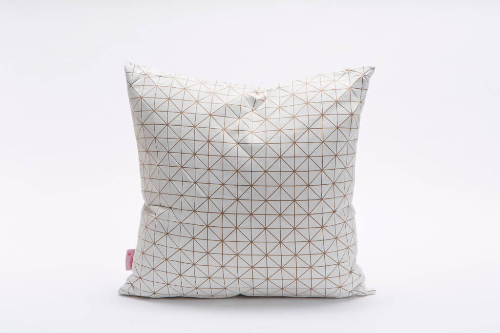 White on Sand Square , Geo origami geometric Cushion Cover 50x50 cm, 19.5X19.5 inch, Printed pillow cover Home decor accessory,