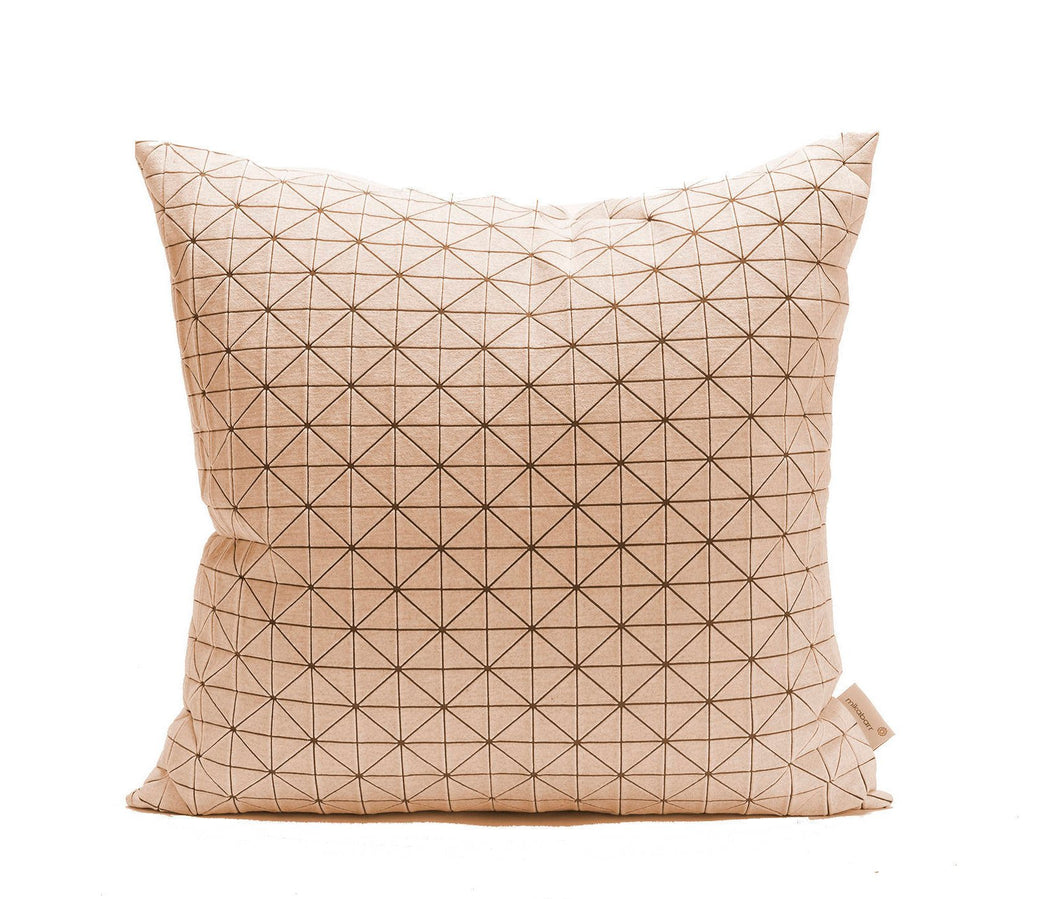 White on brown Square. Geo origami geometric Cushion Cover 50x50 cm, 19.5X19.5 inch, Printed pillow cover. Home decor accessory