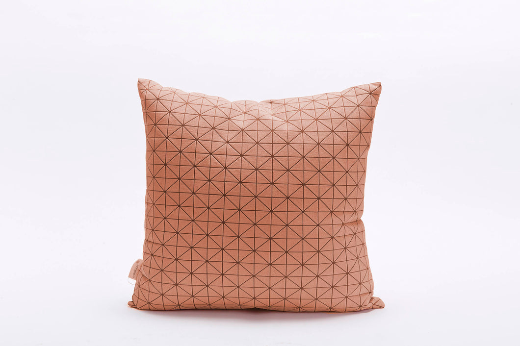 "Pink and brown decorative pillow. Geometric designer throw pillow cover 19.5x19.5""  50x50 cm. Removable cushion cover, Geo pillow"