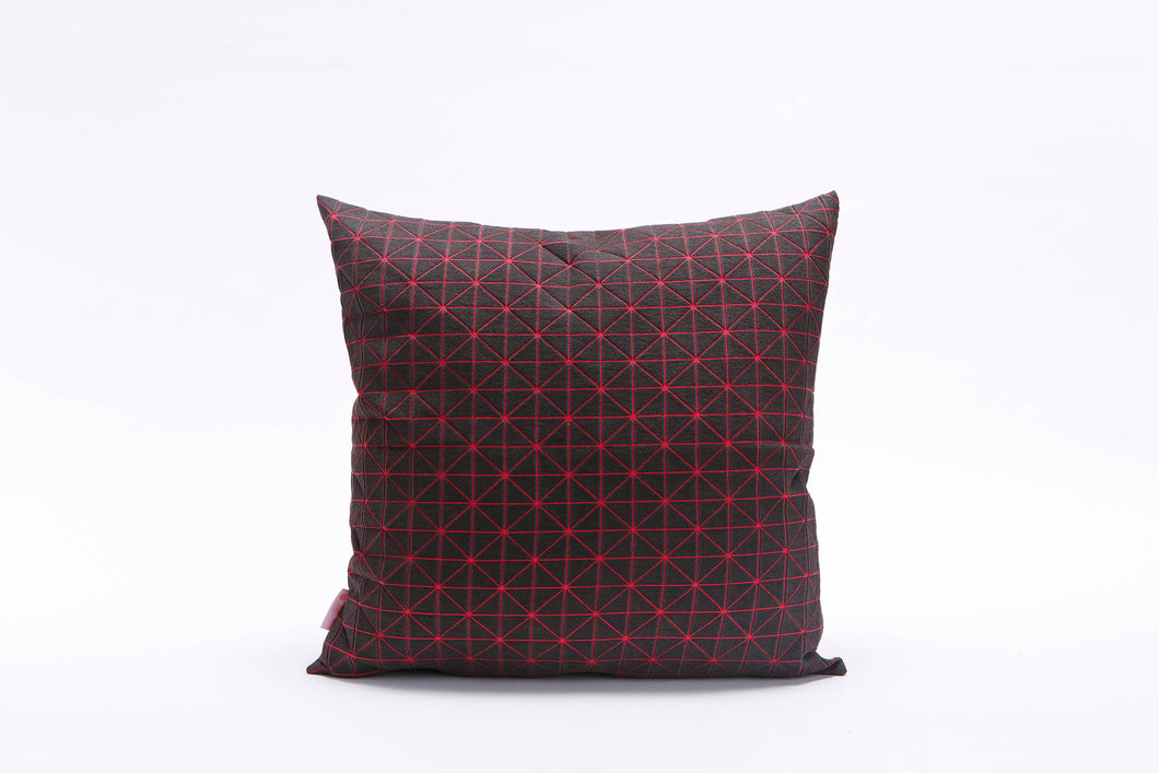 "textured designer throw pillow cover 19.5x19.5""  50x50cm. Pink and Black Decorative Design. Removable Cotton print, Geo pillow"