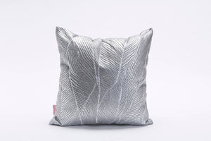 Square Cushion Cover with Matt Finish, Leaves Print, Bling Pinion Limited Edition, Foil Print On Fabric Linen Silver