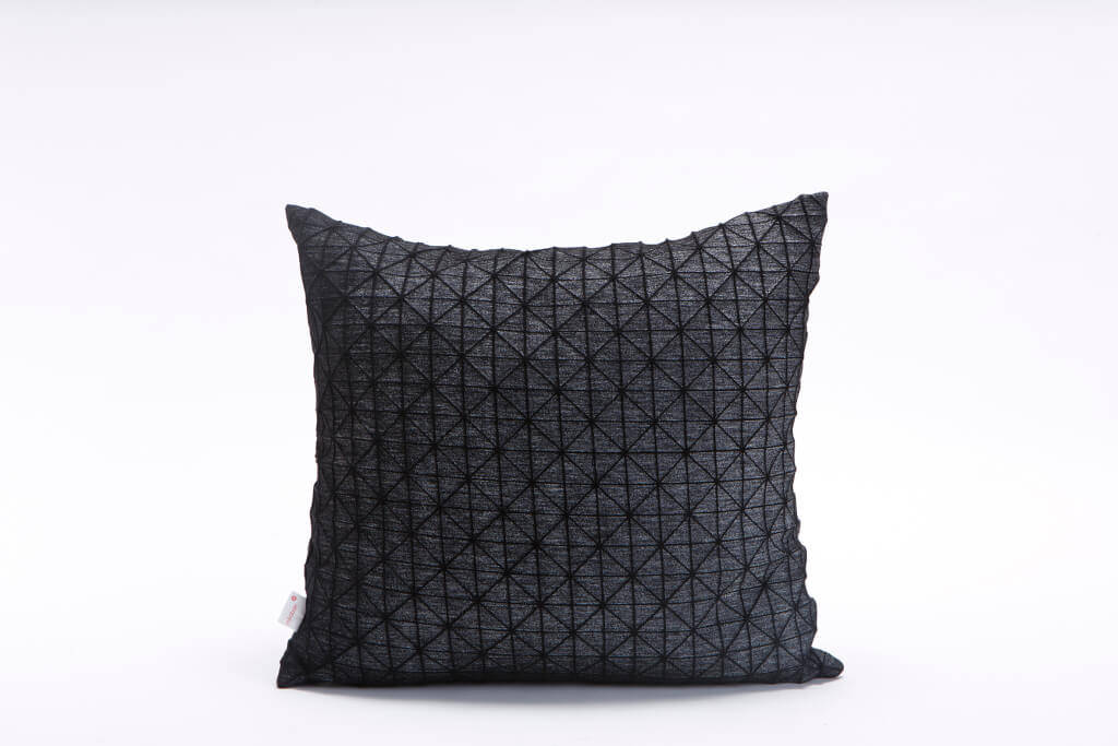 Washed White on Black Square, Geo origami geometric Cushion Cover 50x50 cm, 19.5X19.5 inch, Printed pillow cover Home decor accessory,