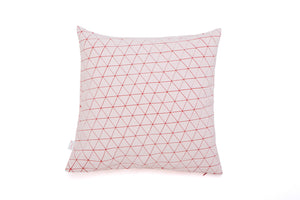 "White and Red designer throw pillow cover 19.5x19.5""  50x50cm. Blue geometric textile design. Removable printed pillow cover, Ilay pillow"