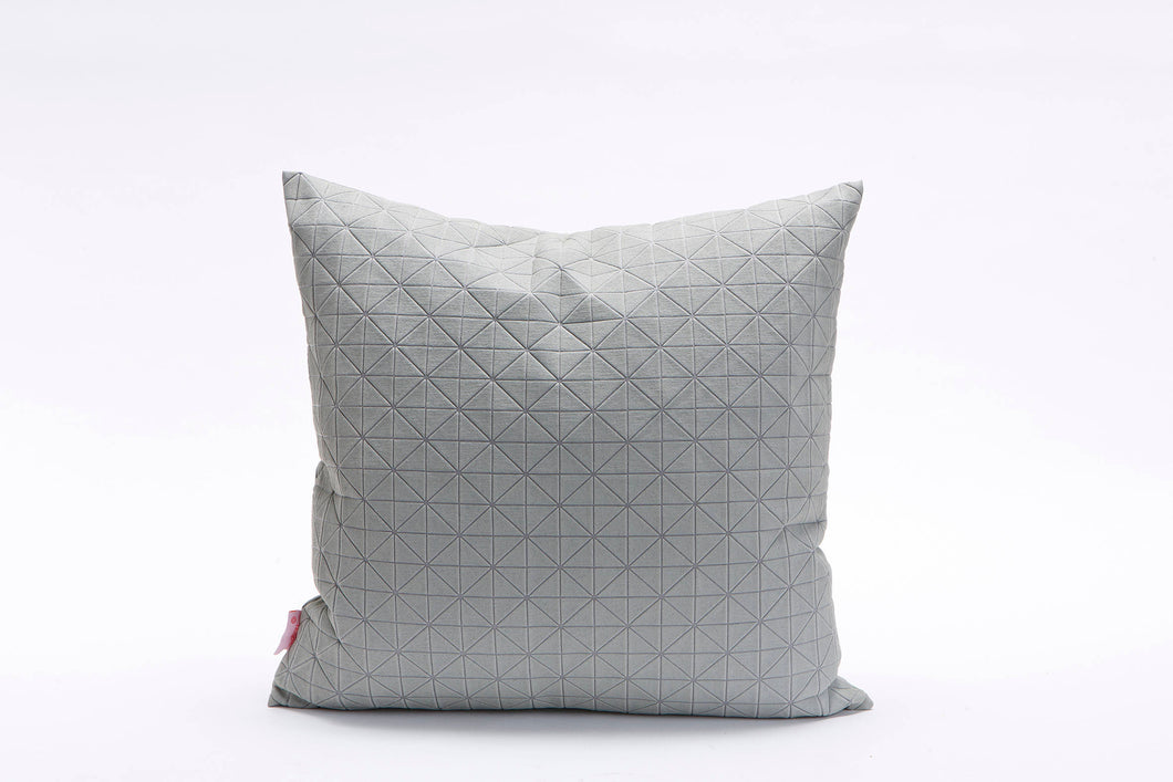 "Grey on Grey Square Geo origami Cushion Cover  19.5x19.5"" - 50x50cm. Nature inspired Decorative Design. Removable Cotton print, Geo pillow"