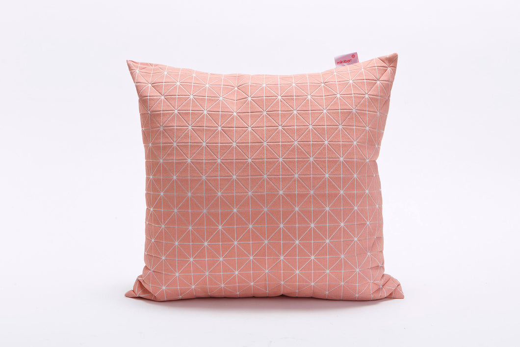"textured designer throw pillow cover 19.5x19.5""  50x50cm. Pink Decorative Design. Removable Cotton print, Geo pillow"