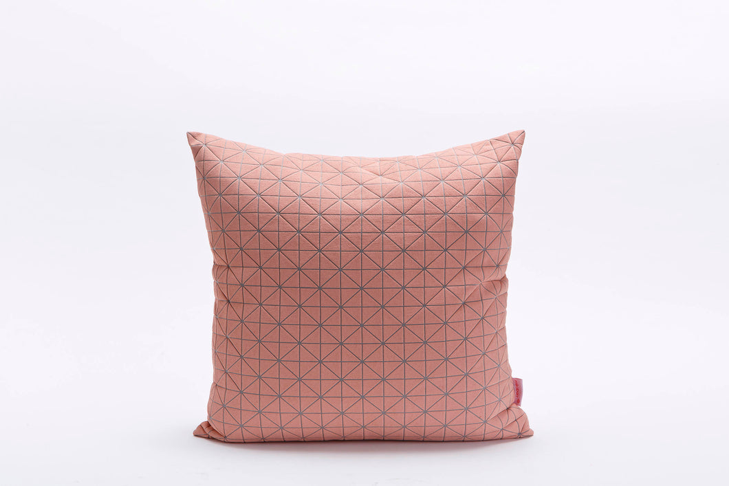 "pink peach on grey origami pillow cover 19.5x19.5"" - 50x50cm. Nature inspired Decorative Design. Removable Cotton print, Geo pillow"