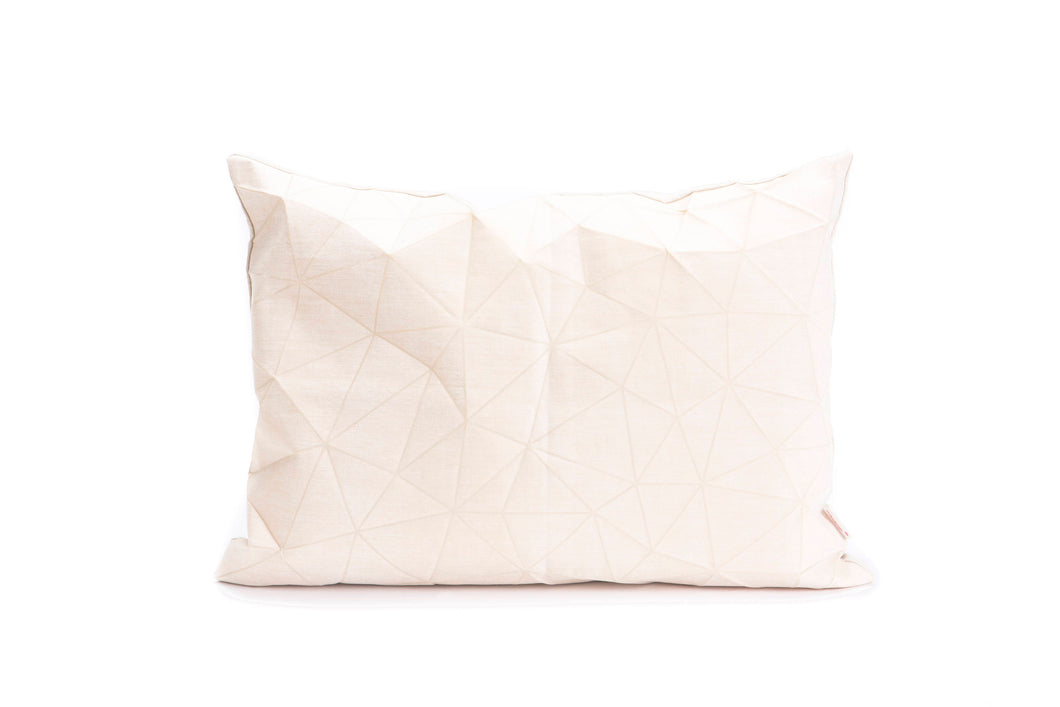 White origami throw pillow cover 55x40 cm, 21.6X16