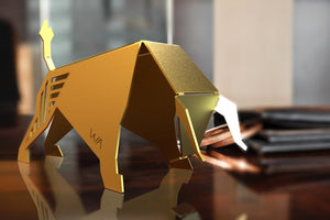 BULL-brass origami. Motivational modern sculpture. Entrepreneur Trading Art. Desk Accessory. Taurus birthday gift