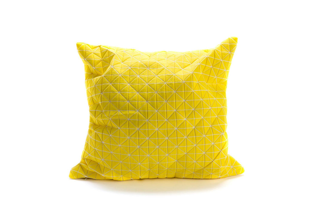 Origami throw pillow, contemporary cushion cover, 19.5X19.5, 50x50, yellow printed folding cushion, Home decor accessory, Geo pillow