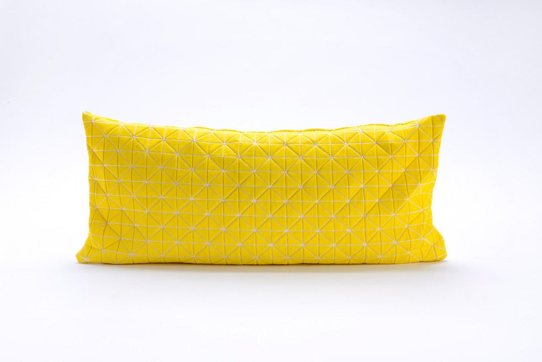 Yellow origami decorative pillow cover 30X60 cm, 11.8X23.6 inch, Printed folding cushion Home decor accessory, Geo pillow