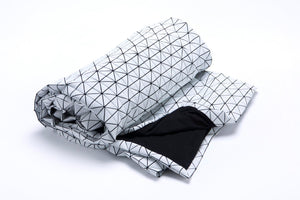 Black and white origami geometric throw 180x180 cm/ 70x70 inch. Printed origami plaid. Modern texture home decor accessory, Fap throw
