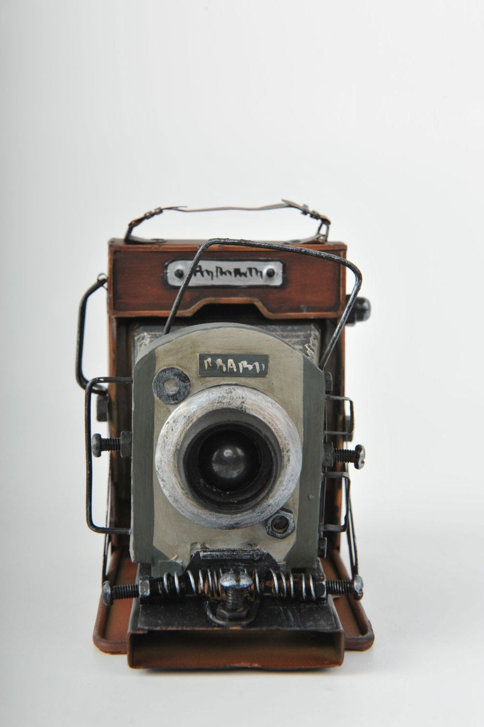 Wood and Metal 1950's Camera Replica Vintage Decoration Antique Trinket Box