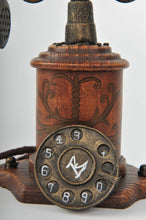 Retro Wood and Metal Rotary Dial Phone Miniature Antique Trinket Box Unique Decoration