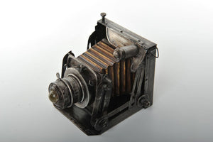 Retro Wood and Metal Replica of an Accordion Camera Vintage Decoration Antique Trinket Box