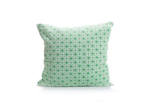 "textured designer throw pillow cover 19.5x19.5""  50x50cm. Green Decorative Design. Removable Cotton print, Geo pillow"