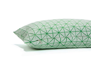 Green white pillow, geometric cushion cover 30x60 cm, Printed origami cushion Home decor accessory, Geo pillow