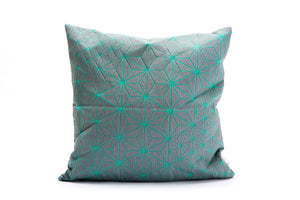 "Turquoise & grey designer throw pillow cover 15.7x15.7"". Japanese inspired decorative design. Removable printed pillow cover, Tamara pillow"