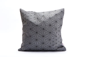 "Grey and Black Geometric Japanese inspired decorative, 15.7x15.7"". Removable cotton pillow cover, designer throw cushion cover Tamara pillow"