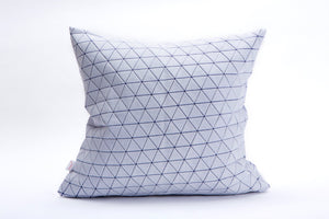"White and purple designer throw pillow cover 19.5x19.5""  50x50cm. Blue geometric textile design. Removable printed pillow cover, Ilay pillow"