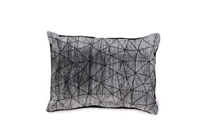 Black and white origami geometric pillow cover 55x40 cm, 21.6X16 inch, Printed folding cushion, Home decor accessory. Irad pillow