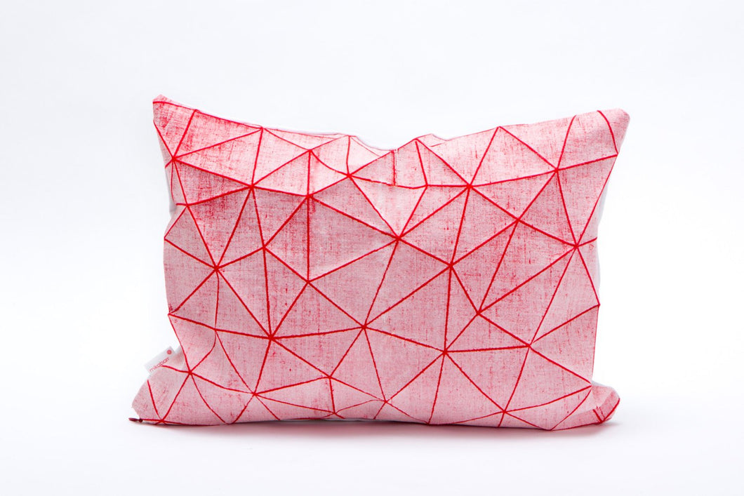 White and Red geometric pillow cover 55x40 cm, 21.6X16