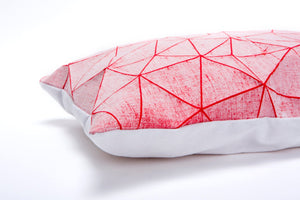 "White and Red geometric pillow cover 55x40 cm, 21.6X16 "", Printed origami cushion Home decor accessory. Irad pillow"