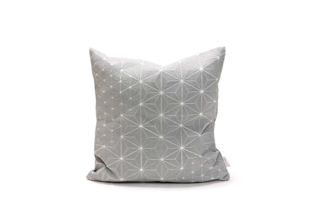 "Geometric Japanese inspired decorative design, 15.7x15.7"". Removable cotton pillow cover,  Gray designer throw cushion cover, Tamara pillow"