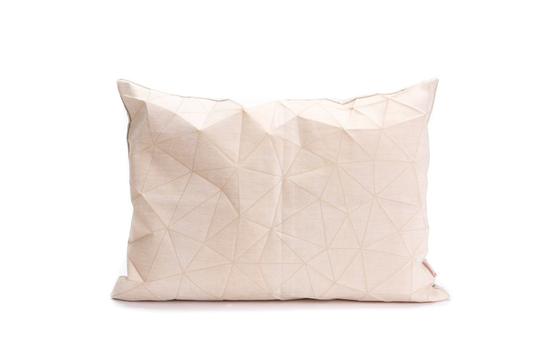 White and Beige origami throw pillow cover 55x40 cm, 21.6X16