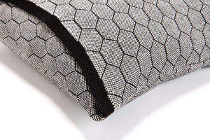 Black and white soft pillow cover 55x45 cm/ 22x18 inch, Honeycomb knitted cushion, Modern design home decor accessory, Hive cushion