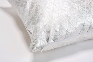 Metallic Foil Print On Fabric Linen 19.5x19.5 Inch White Print On White Fabric, Coated With Silver Foil, Bling cushion