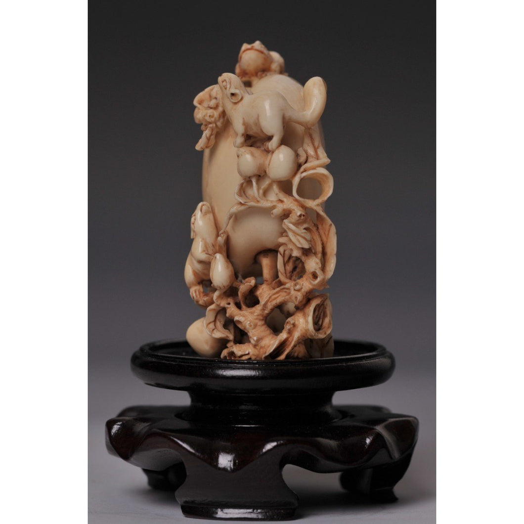 Mammoth Ivory- Snuff Bottle Rabbits and Frog