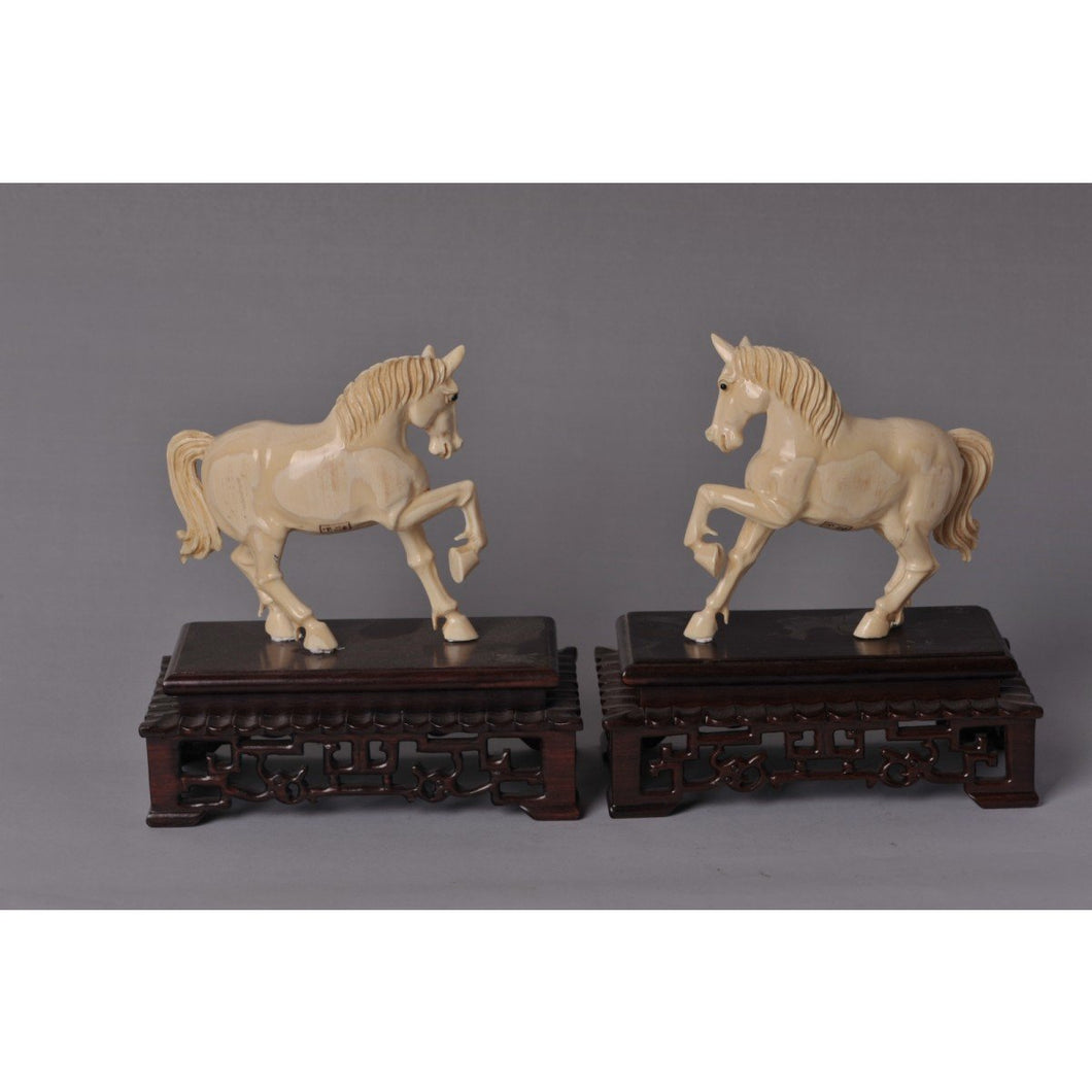 Mammoth Ivory - Pair of horses