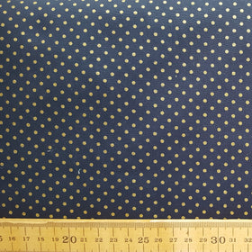Gold Spot Print Navy Cotton /.25m