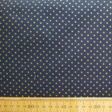 Gold Spot Print Navy Cotton /.25cm
