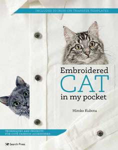 Embroidered Cat in My Pocket - Hiroko Kubota