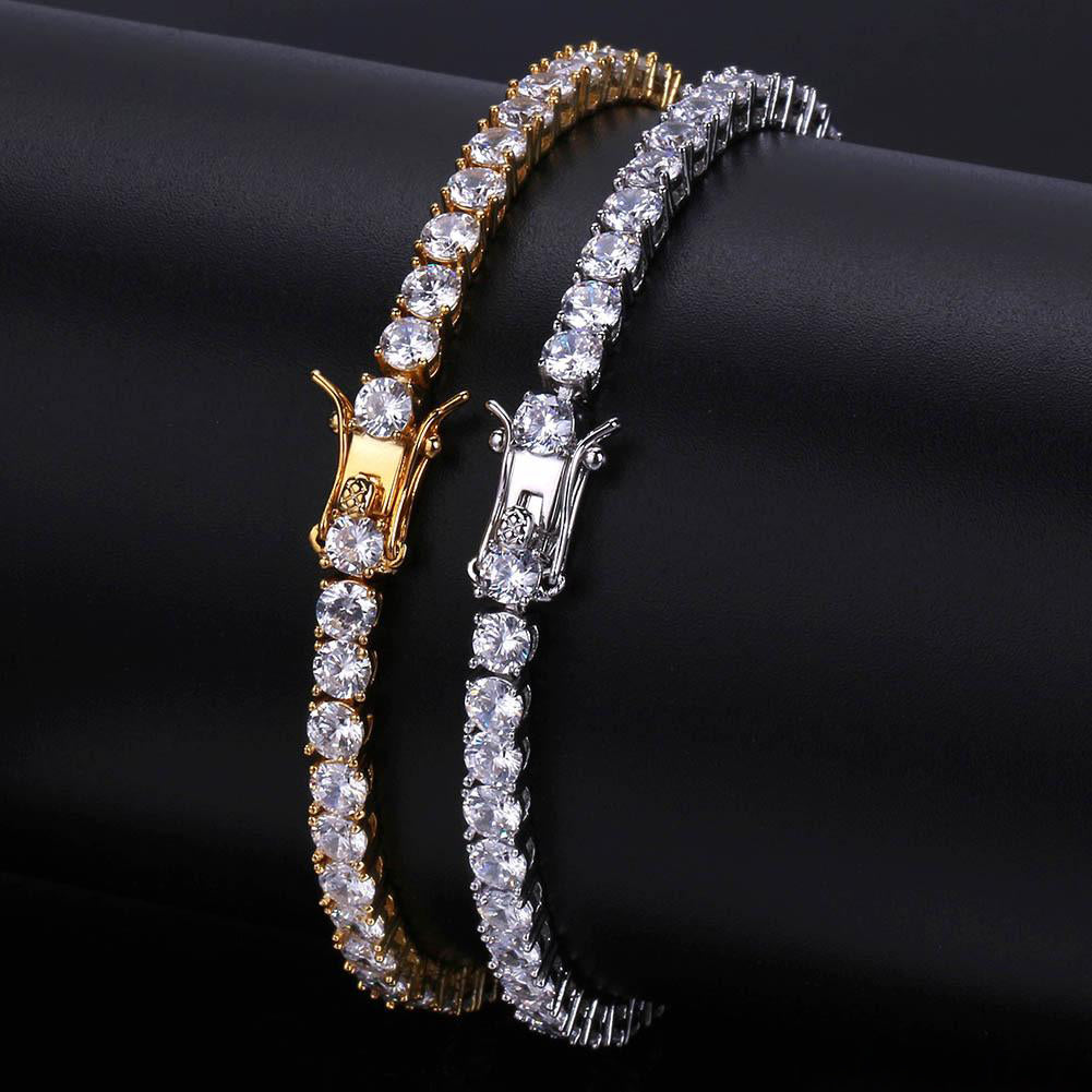 18k Gold/White Gold Plated Tennis Bracelet (3-6mm)