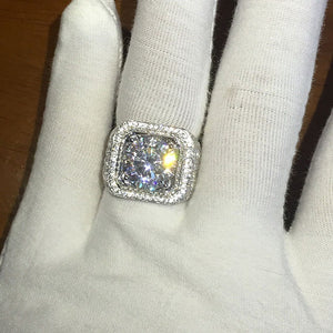 Pave set fully iced out 18k White gold plated Ring