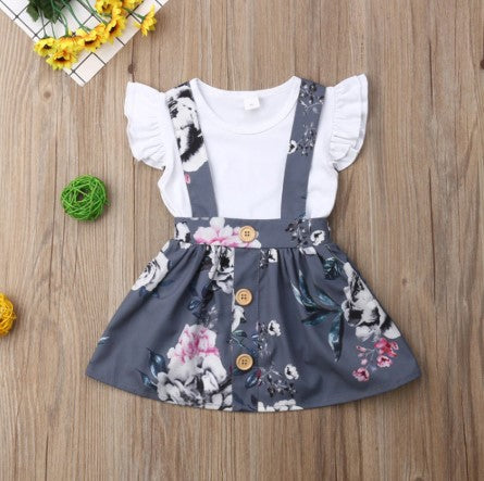 Gray Floral Suspender Outfit