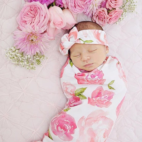 2Pcs Sweet Dream Swaddle Blanket + Headband