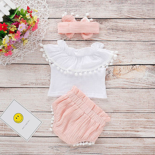 6 - 24 month 3 PC cotton and linen ruffle top and shorts w/headband