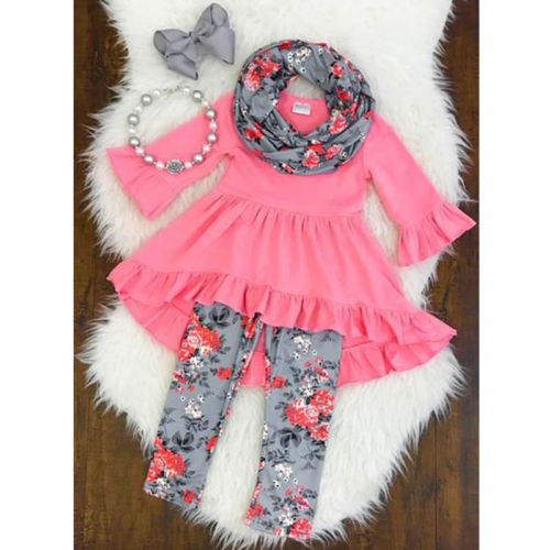 Pretty Girl Ruffle Top+Flower Leggings +Scarf