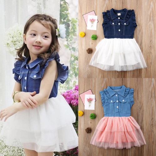 Denim & Stitch Ruffle Sleeve Top and Tulle Tutu Dress