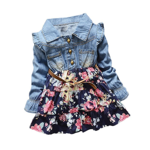 Autumn Floral Denim Dress