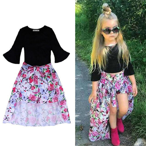 Summer 3 PC Floral skirt short and top