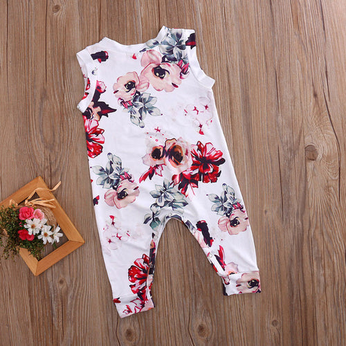 Baby floral sleeveless jumpsuit