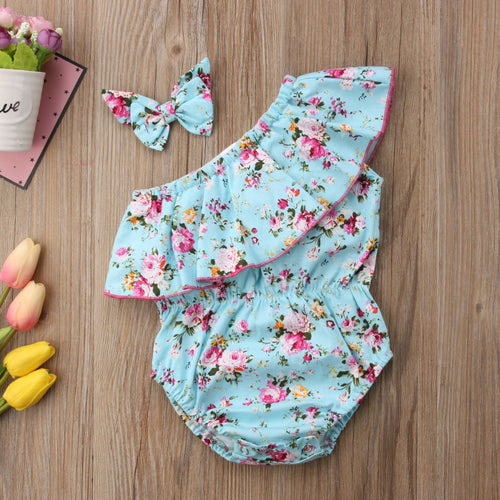 Floral sunsuit+headband