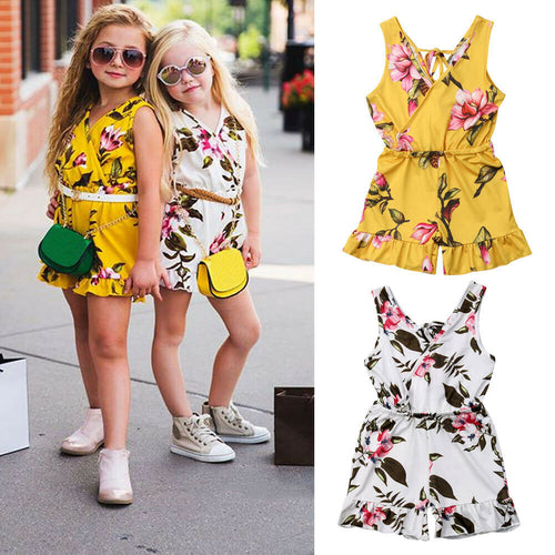 Girls 2T - 6T Floral Romper Set