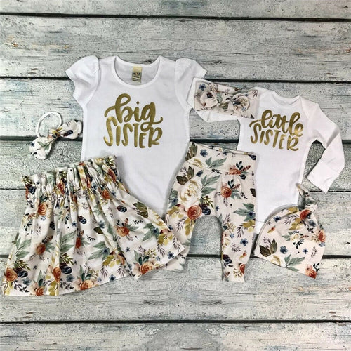 Big Sister Little Sister Gold Floral